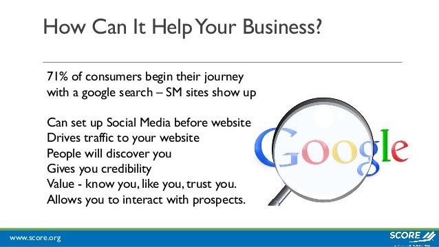 www.score.org How Can It HelpYour Business? 71% of consumers begin their journey with a google search – SM sites show up C...