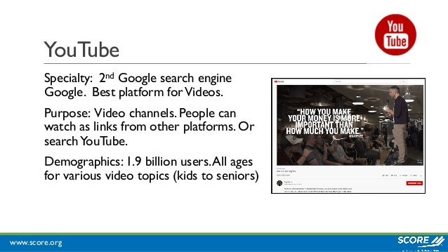 www.score.org YouTube Specialty: 2nd Google search engine Google. Best platform forVideos. Purpose: Video channels. People...