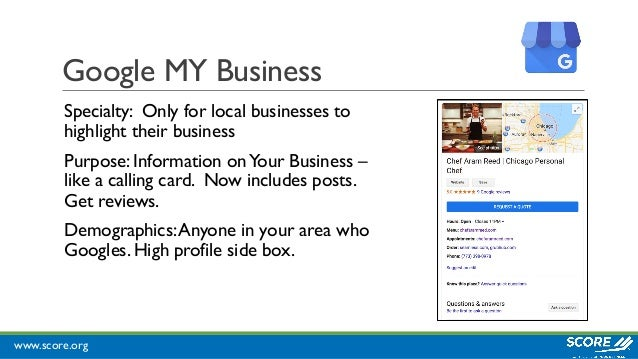 www.score.org Google MY Business Specialty: Only for local businesses to highlight their business Purpose: Information onY...