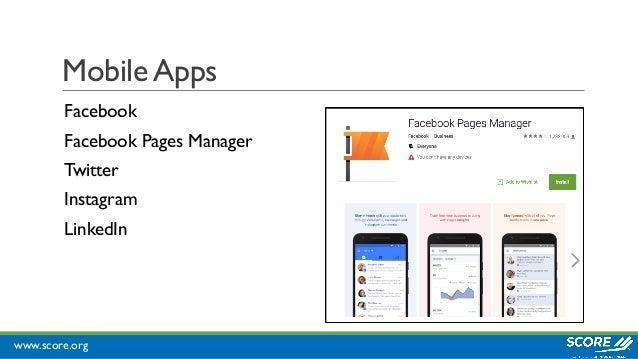 www.score.org Mobile Apps Facebook Facebook Pages Manager Twitter Instagram LinkedIn