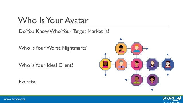 www.score.org Who IsYour Avatar DoYou Know WhoYour Target Market is? Who IsYour Worst Nightmare? Who isYour Ideal Client? ...