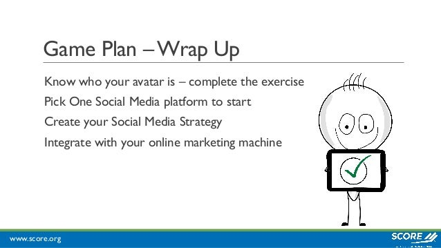 www.score.org Game Plan –Wrap Up Know who your avatar is – complete the exercise Pick One Social Media platform to start C...
