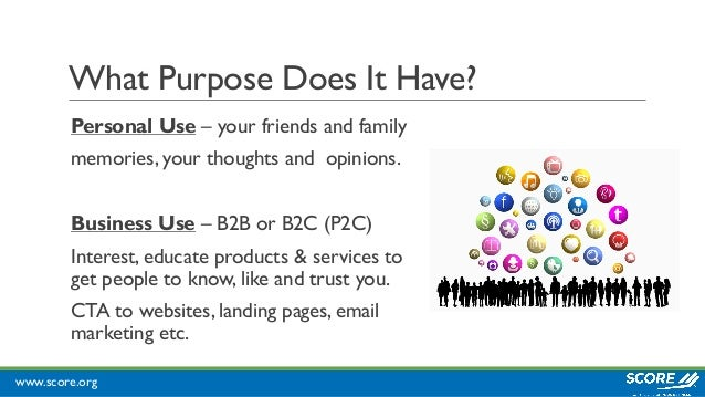 www.score.org What Purpose Does It Have? Personal Use – your friends and family memories, your thoughts and opinions. Busi...