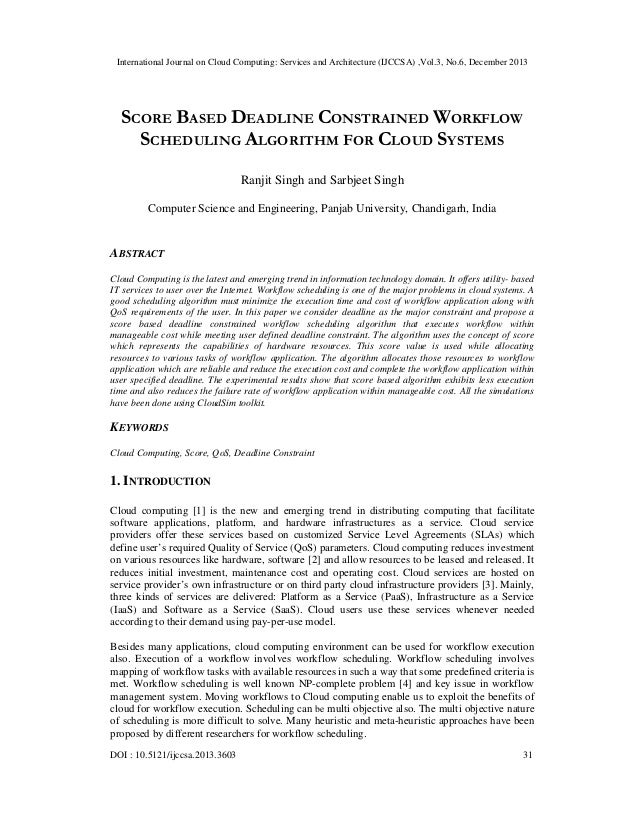 International Journal on Cloud Computing: Services and Architecture (IJCCSA) ,Vol.3, No.6, December 2013  SCORE BASED DEAD...