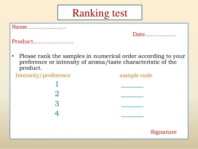 Sensory evaluation of food products