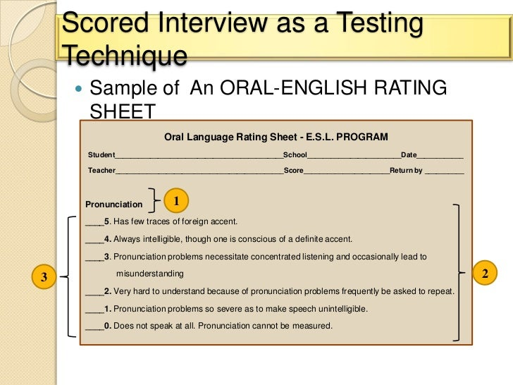 Oral english test score Sheet