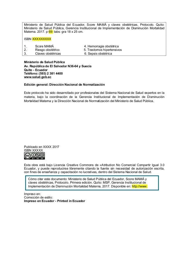 Ministerio de Salud Pública del Ecuador, Score MAMÁ y claves obstétricas, Protocolo. Quito: Ministerio de Salud Pública, G...