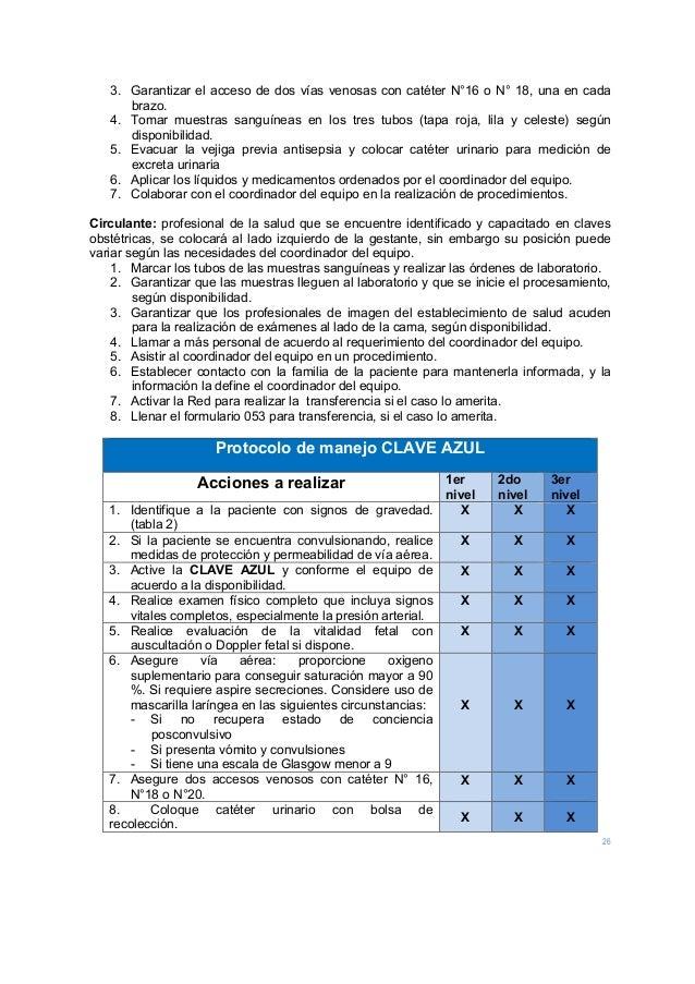 26 3. Garantizar el acceso de dos vías venosas con catéter N°16 o N° 18, una en cada brazo. 4. Tomar muestras sanguíneas e...