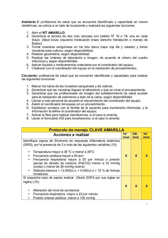 32 Asistente 2: profesional de salud que se encuentre identificado y capacitado en claves obstétricas, se coloca a un lado...
