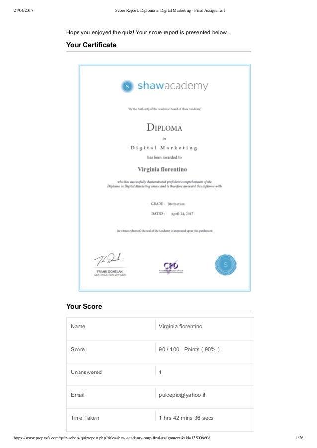 24/04/2017 Score Report: Diploma in Digital Marketing - Final Assignment https://www.proprofs.com/quiz-school/quizreport.p...
