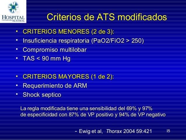 15 Criterios de ATS modificados • CRITERIOS MENORES (2 de 3):CRITERIOS MENORES (2 de 3): • Insuficiencia respiratoria (PaO...