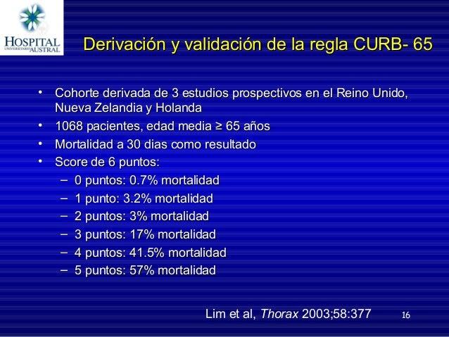 16 Derivación y validación de la regla CURB- 65Derivación y validación de la regla CURB- 65 • Cohorte derivada de 3 estudi...