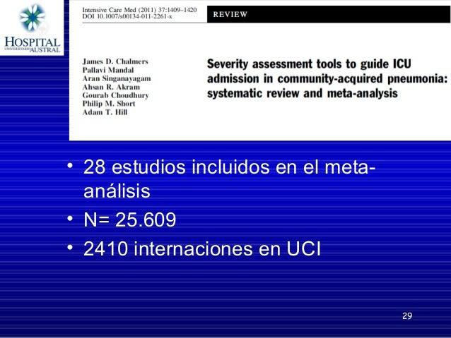 Principales conclusiones del meta-análisis de Chalmers • La especificidad y sensibilidad de PSI, CURB-65 y CRB-65 fueron s...
