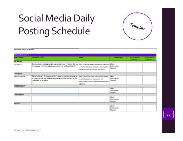 Leveraging Digital Marketing And Social Media In Your Business - Social media posting schedule template