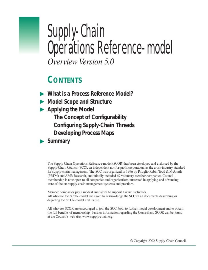 Supply-ChainOperations Reference-modelOverview Version 5.0CONTENTSWhat is a Process Reference Model?Model Scope and Struct...