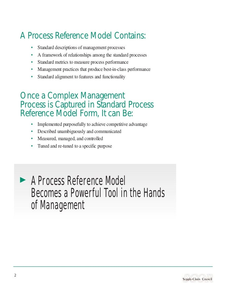 A Process Reference Model Contains:       •   Standard descriptions of management processes       •   A framework of relat...