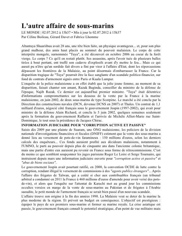 Lautre affaire de sous-marinsLE MONDE | 02.07.2012 à 15h37 • Mis à jour le 02.07.2012 à 15h37Par Céline Boileau, Gérard Da...