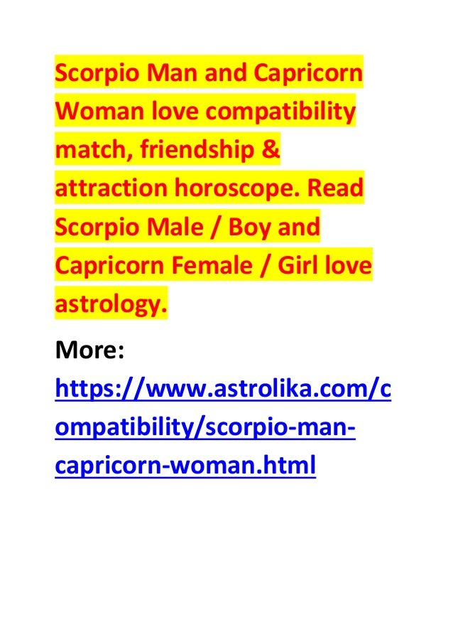 Scorpio man capricorn woman love compatibility attraction horoscope