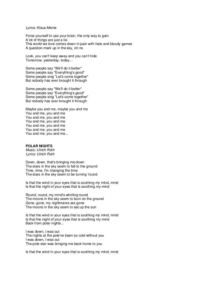 Lyric lyrics to down to the river : Scorpions