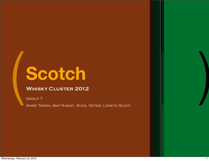 (            Scotch                   Whisky Cluster 2012                   Group 7                   Aimée Tañón, Amit Ra...