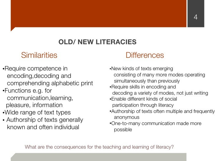 4                      OLD/ NEW LITERACIES      Similarities                                   Differences•Require compete...