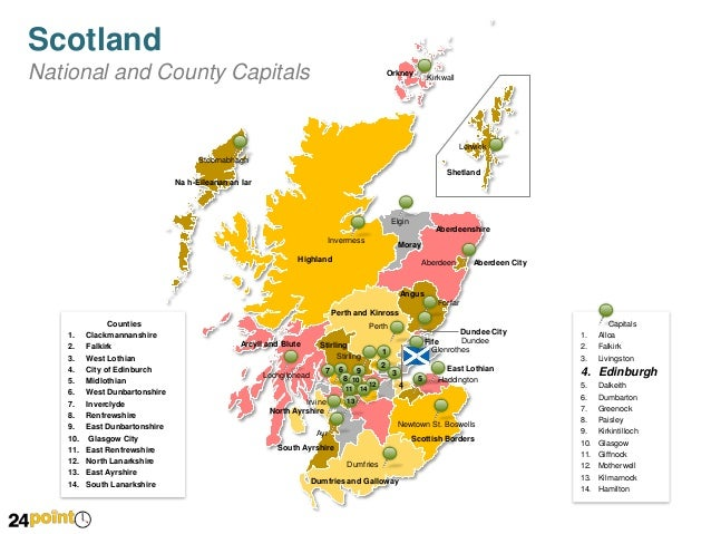 Scotland Map Fully Editable Powerpoint Slides