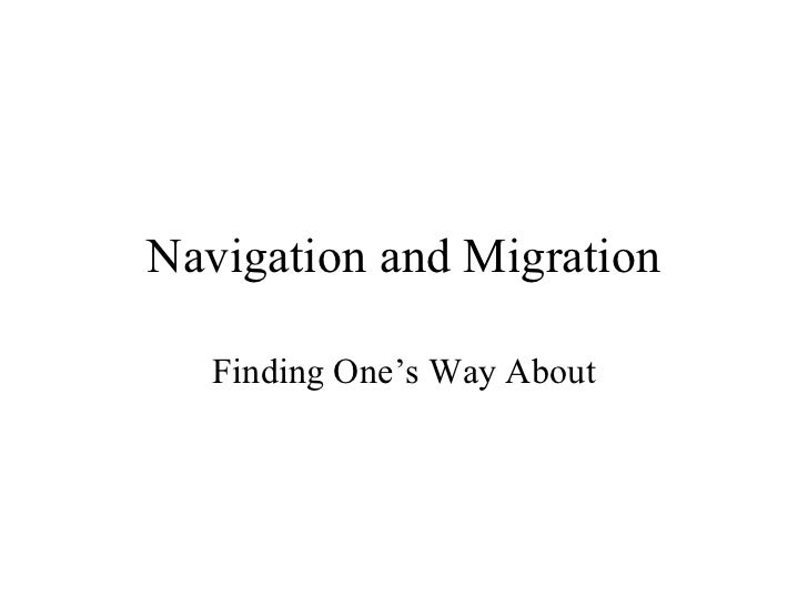 Navigation and Migration   Finding One's Way About
