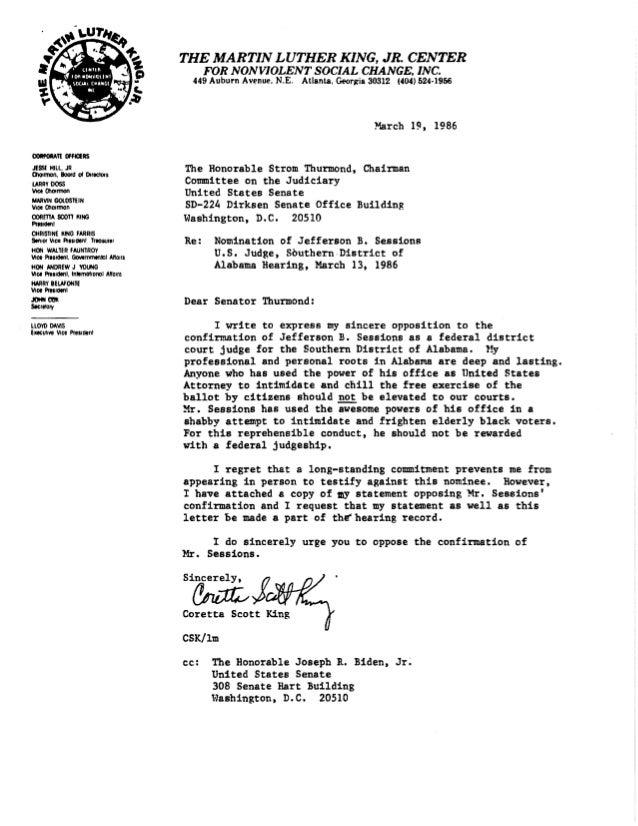 La lettre de la veuve de Martin Luther King