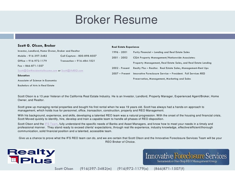 Scott Olson Broker Resume Experienced Reo Broker Quality Valuat…