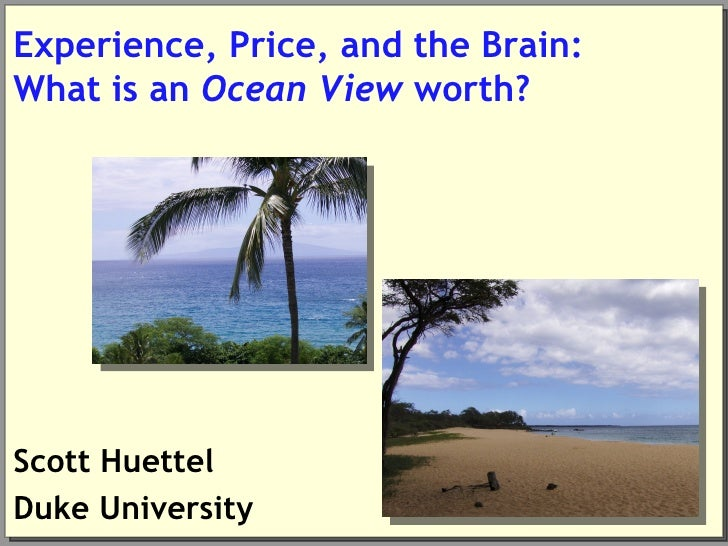 Experience, Price, and the Brain:What is an Ocean View worth?Scott HuettelDuke University
