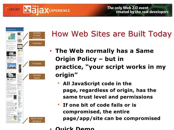How Web Sites are Built Today<br />Google Friend Connect<br />Youtube<br />The Web normally has a Same Origin Policy – but...