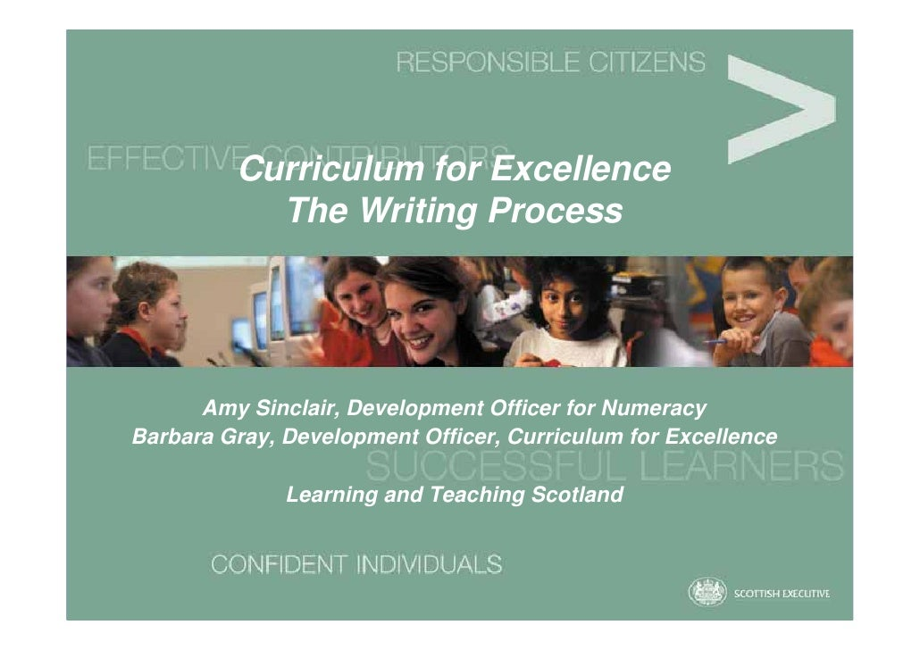 Curriculum for Excellence            The Writing Process           Amy Sinclair, Development Officer for Numeracy Barbara ...