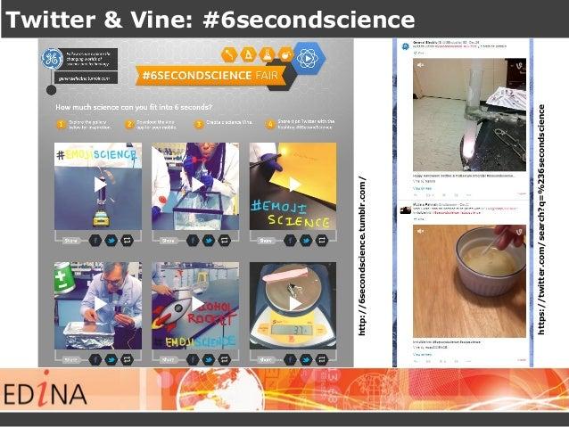 Twitter & Vine: #6secondscience https://twitter.com/search?q=%236secondscience http://6secondscience.tumblr.com/