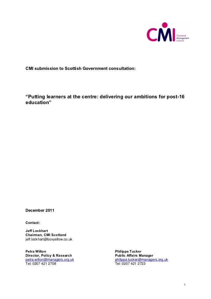 """CMI submission to Scottish Government consultation:""""Putting learners at the centre: delivering our ambitions for post-16ed..."""