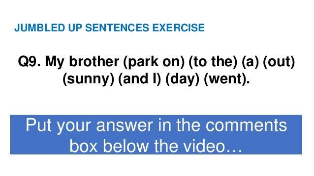 Jumbled Up Sentences