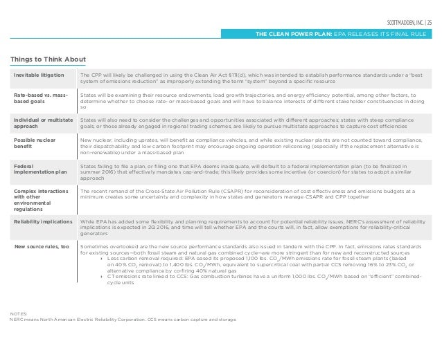 SCOTTMADDEN, INC. | 25 THE CLEAN POWER PLAN: EPA RELEASES ITS FINAL RULE Things to Think About Rate-based vs. mass- based ...