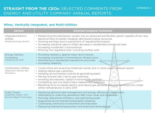 SCOTTMADDEN, INC. | 5 STRAIGHT FROM THE CEOs: SELECTED COMMENTS FROM ENERGY AND UTILITY COMPANY ANNUAL REPORTS Sectors Sel...