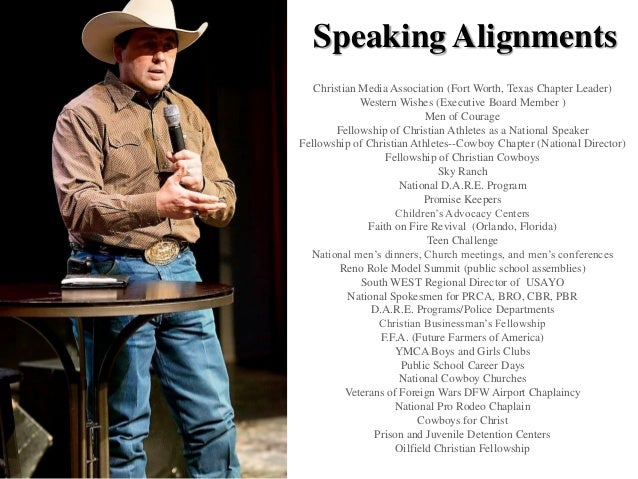 Speaking Alignments Christian Media Association (Fort Worth, Texas Chapter Leader) Western Wishes (Executive Board Member ...