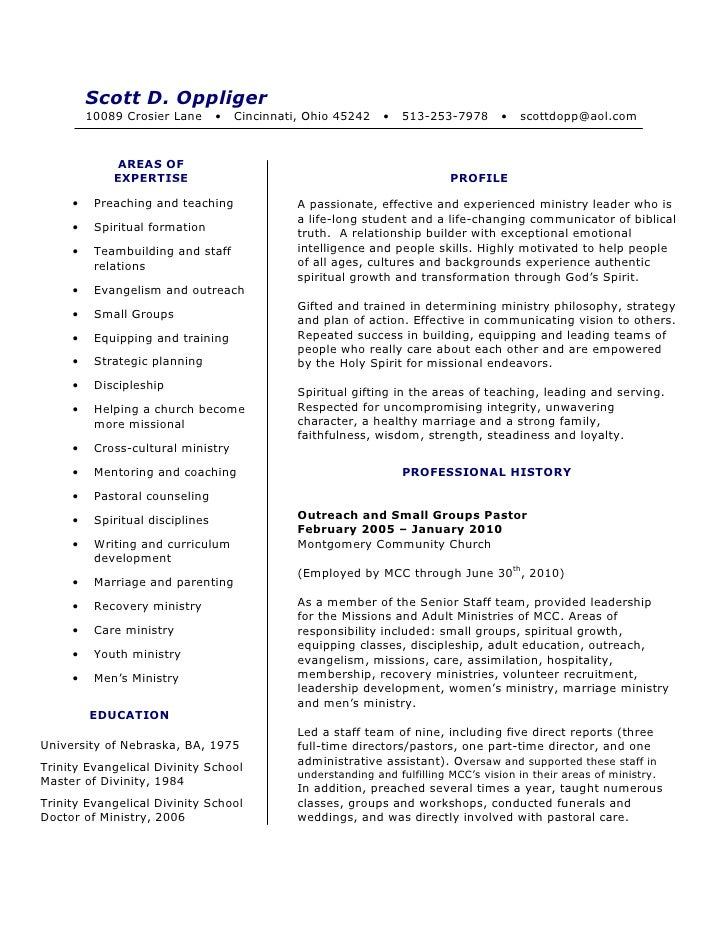 scott oppliger resume 2010