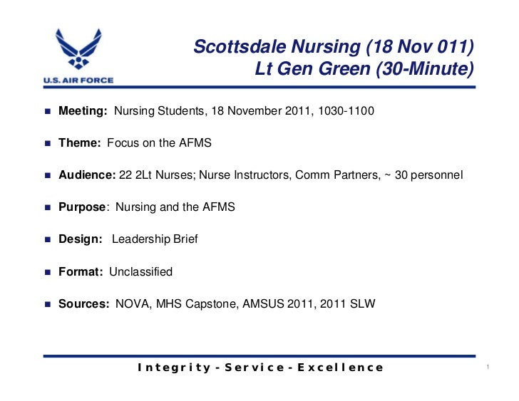 Scottsdale Nursing (18 Nov 011)                              Lt Gen Green (30-Minute)Meeting: Nursing Students, 18 Novembe...