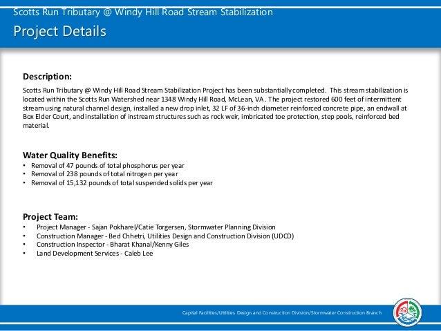 Scotts Run Tributary at Windy Hill Road Stream Stabilization Slide 2