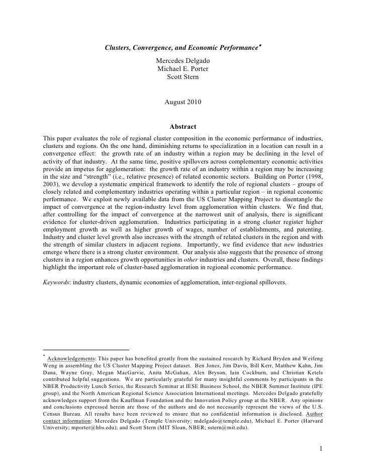Clusters, Convergence, and Economic Performance∗                                             Mercedes Delgado             ...