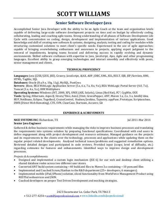 Sample Resume For  Years Experienced Java Developer Scott Allen