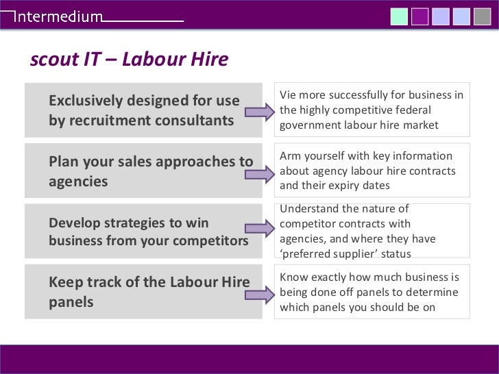 scout IT – Labour Hire<br />Vie more successfully for business in the highly competitive federal government labour hire ma...