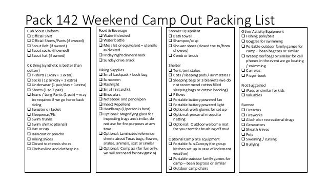 Pack 142 Cub Scouts Camping Guide 2018 - North Texas and Frisco