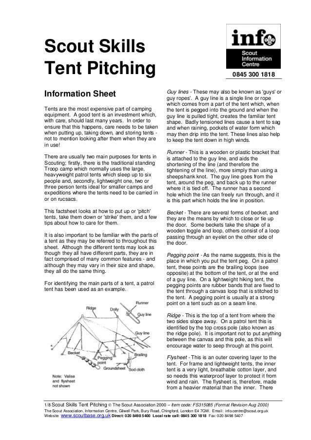 Scout Skills Tent Pitching
