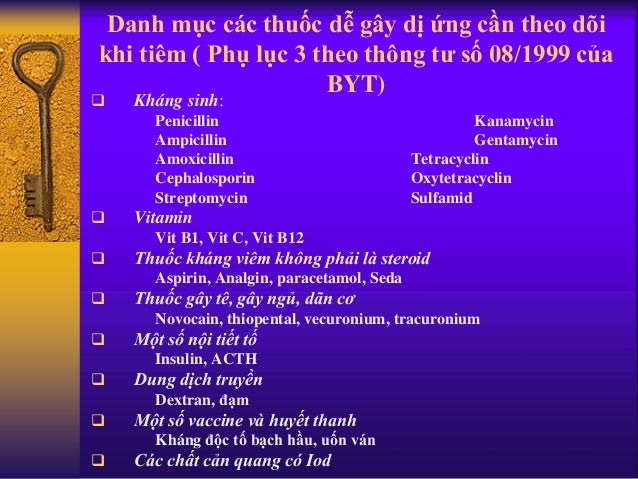 Danh mục các thuốc dễ gây dị ứng cần theo dõi khi tiêm ( Phụ lục 3 theo thông tư số 08/1999 của BYT)  Kháng sinh: Penicil...