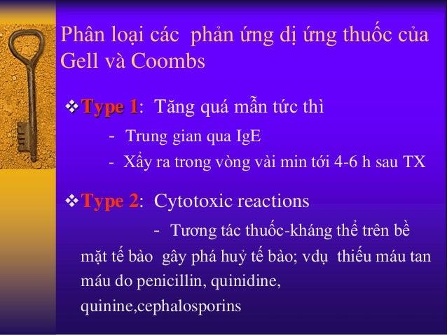 Phân loại các phản ứng dị ứng thuốc của Gell và Coombs Type 1: Tăng quá mẫn tức thì - Trung gian qua IgE - Xẩy ra trong v...