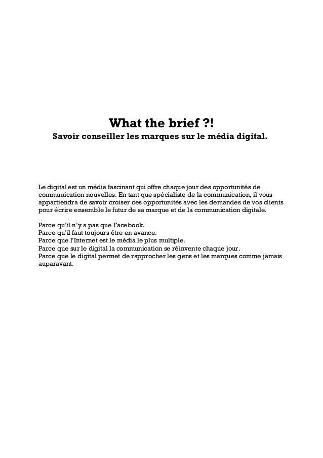 What the brief ?!Savoir conseiller les marques sur le média digital.Le digital est un média fascinant qui offre chaque jou...