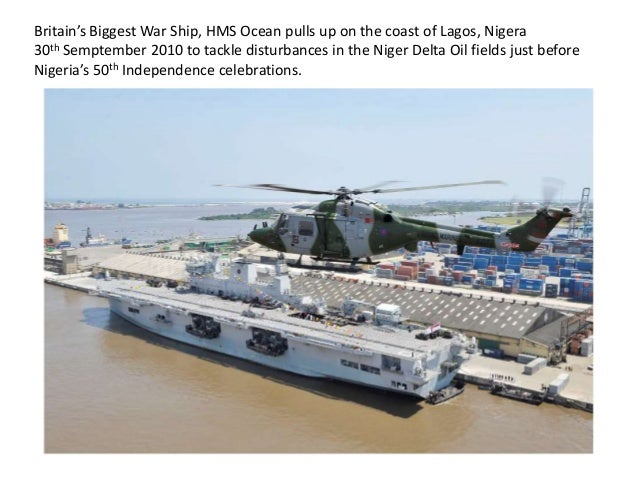 Britain's Biggest War Ship, HMS Ocean pulls up on the coast of Lagos, Nigera 30th Semptember 2010 to tackle disturbances i...